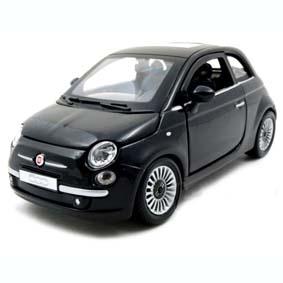 Miniatura do Fiat 500 preto (2008) marca Bburago escala 1/24