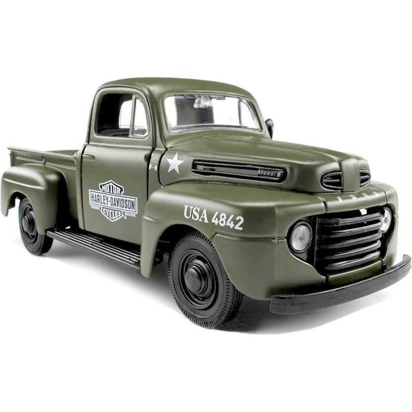 1942 Harley-Davidson WLA Flathead 1/24 e Pickup Ford F1 (1948) marca Maisto escala 1/24