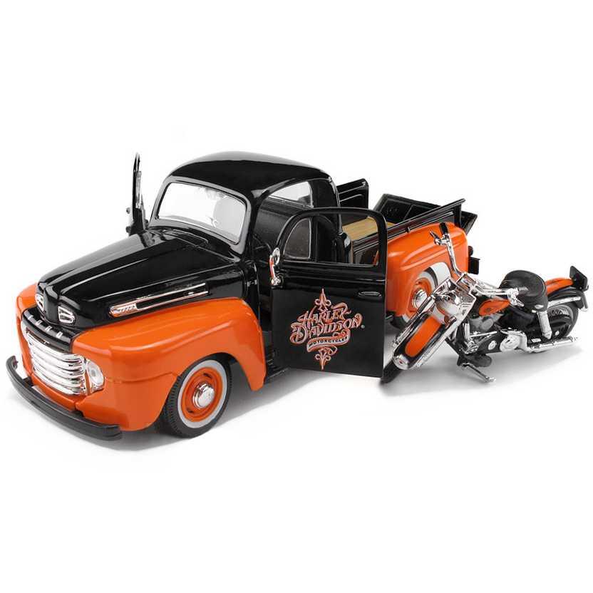 1948 Pickup Ford F-1 com Harley Davidson FLH Duo Glide  (1958) marca Maisto escala 1/24