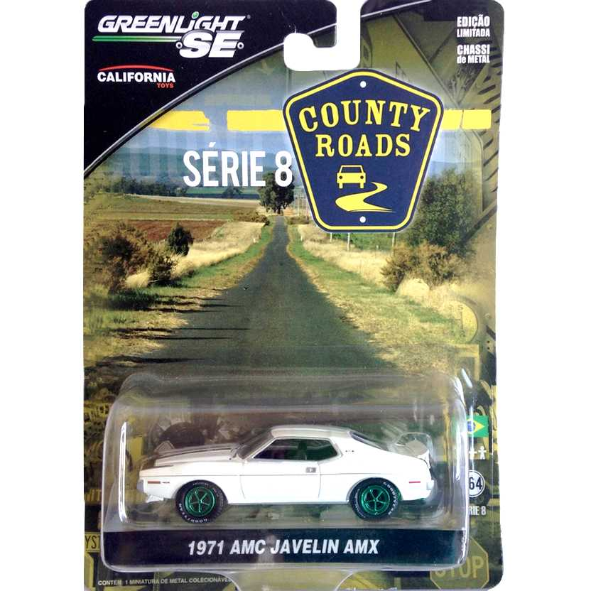 1971 AMC Javelin AMX Greenlight Green Machine County Roads série 8 R8 29740X escala 1/64