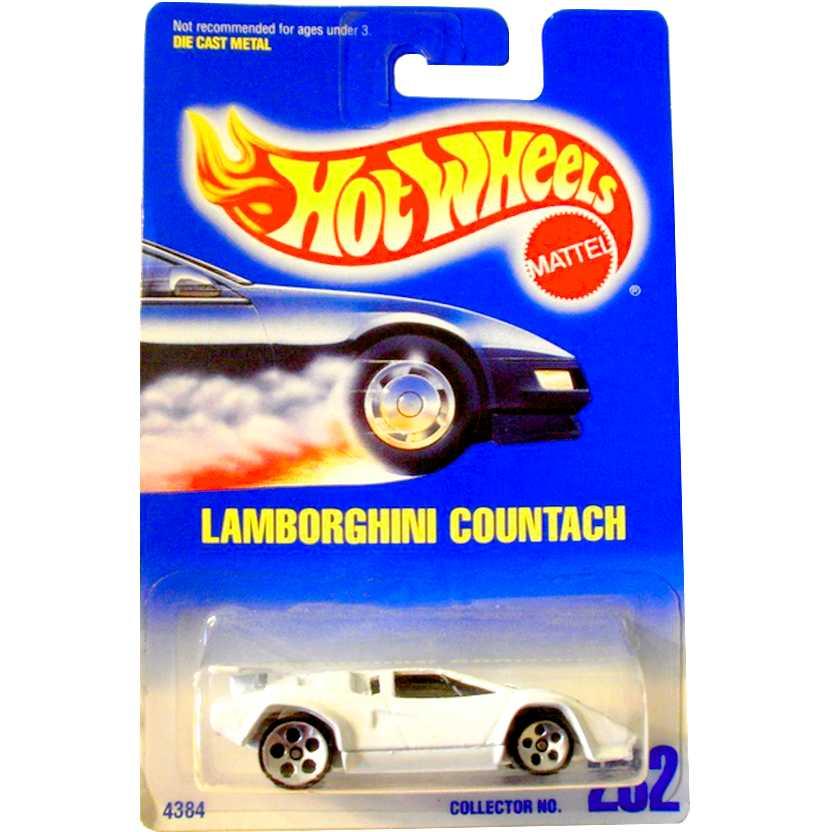 1991 Hot Wheels Lamborghini Countach branco escala 1/64 Collector 232 4384 RARO