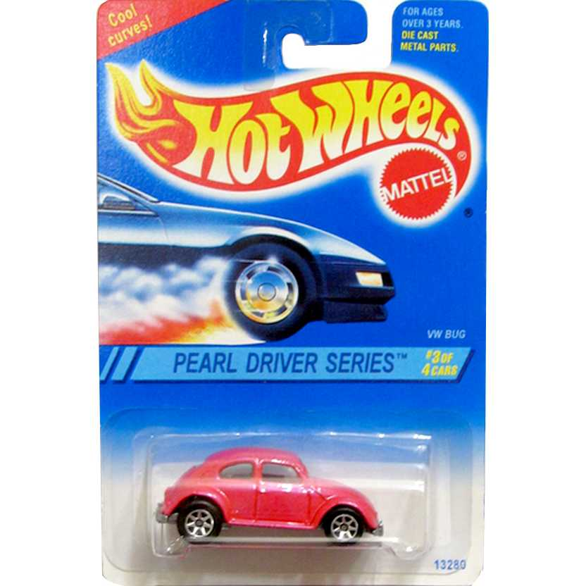 1995 Hot Wheels VW Bug Fusca rosa escala 1/64 series 3 of 4 # 293 13280