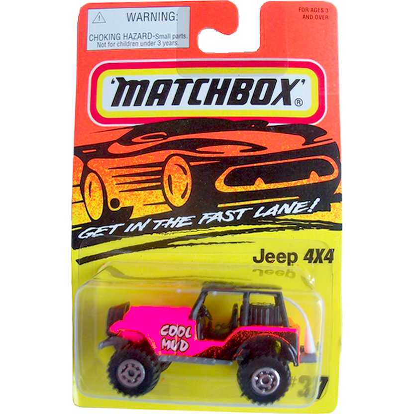 1995 Matchbox Jeep 4x4 rosa/pink #37 010774 escala 1/64 (Raridade)