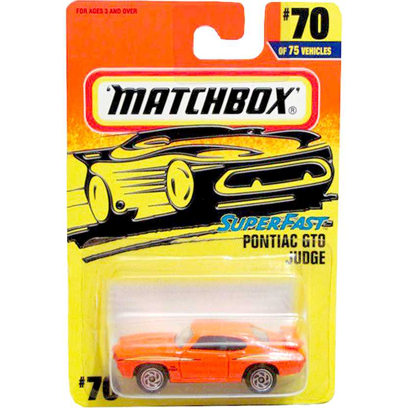 1997 Matchbox Super Fast 1970 Pontiac GTO Judge laranja #70 MB289 escala 1/64