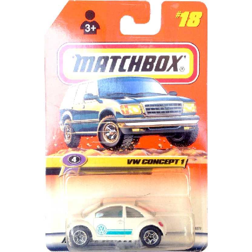 1998 Coleção Matchbox VW Concept 1 New Beetle #18 36277 escala 1/64