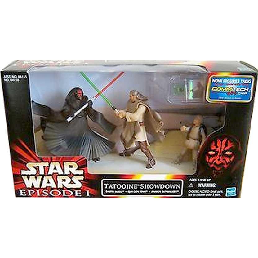 1999 Hasbro Star Wars Episode 1 Maul Jinn Anakin Tatooine Showdown Cinema Scene