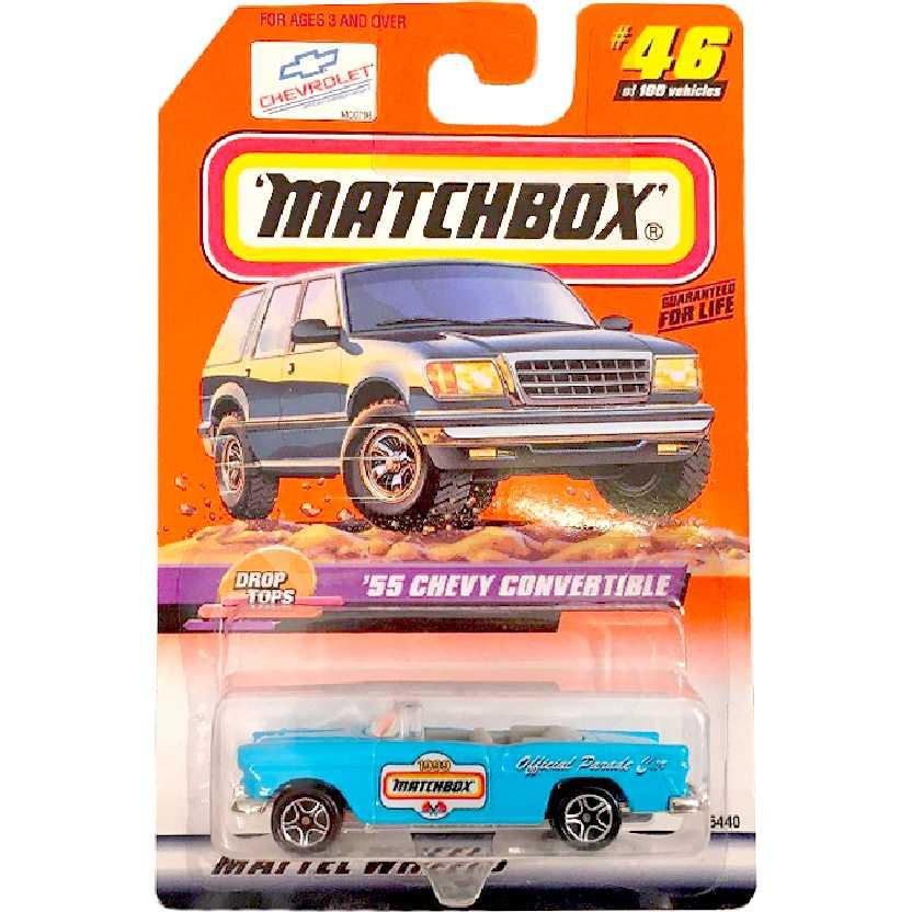 1999 Matchbox 55 Chevy Convertible Official Parade Car series 46/100 36440 escala 1/64