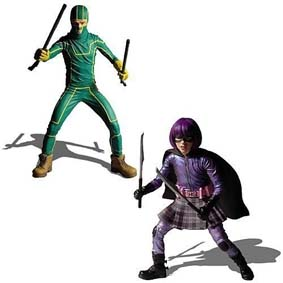 2 Bonecos Kick Ass + Hit Girl dupla Mezco Toys (abertos)