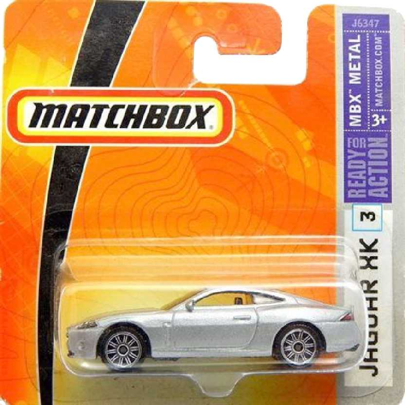 2006 Matchbox Jaguar XK prata #3 J6347 escala 1/64 Raridade