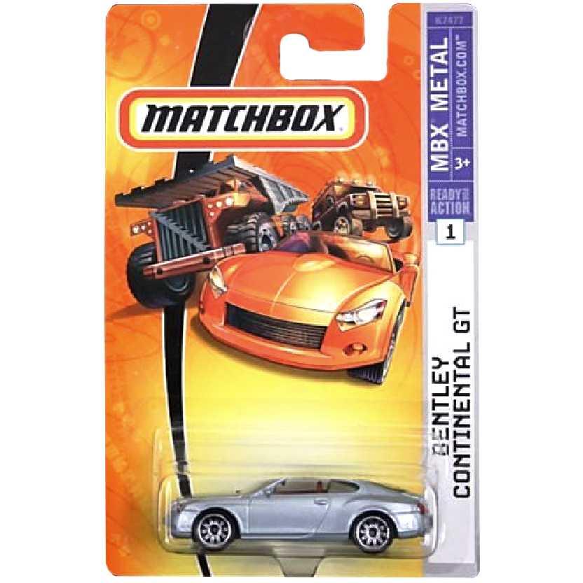 2007 Matchbox Bentley Continental GT prata #1 K7477 escala 1/64