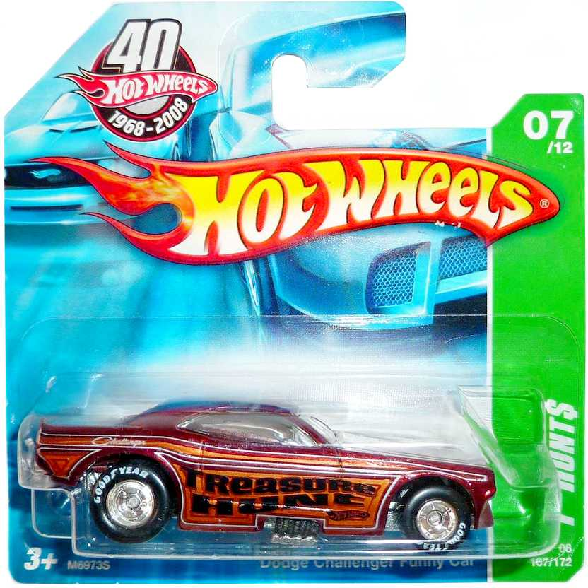2008 Hot Wheels Super T-Hunt$ Dodge Challenger Funny Car M6973S 07/12 167/172 escala 1/64