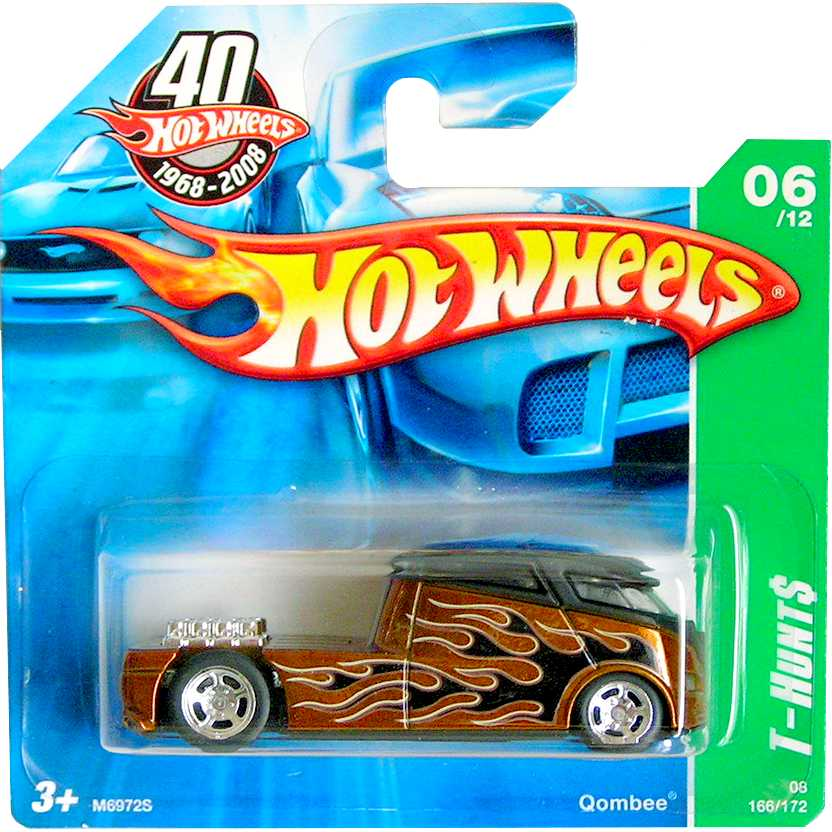 2008 Hot Wheels Super T-Hunt$ Qombee M6972S 06/12 166/172 escala 1/64 com pneus de borracha