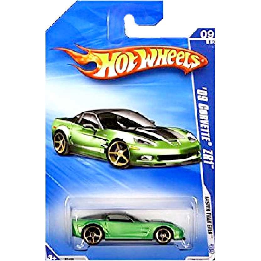 2009 Hot Wheels 09 Corvette ZR1 verde escala 1/64 P2455 série 09/10 135/166
