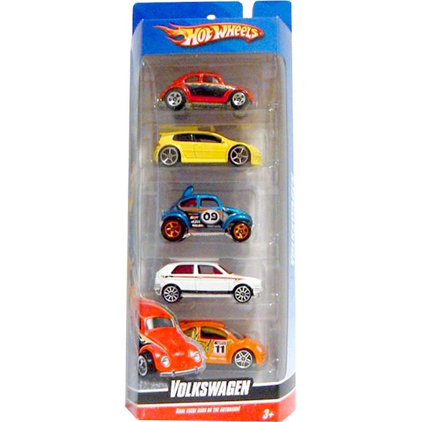 2009 Hot Wheels VW 5-Pack (Golf GTI, Beetle, Baja Beetle, New Beetle Cup, Golf) escala 1/64