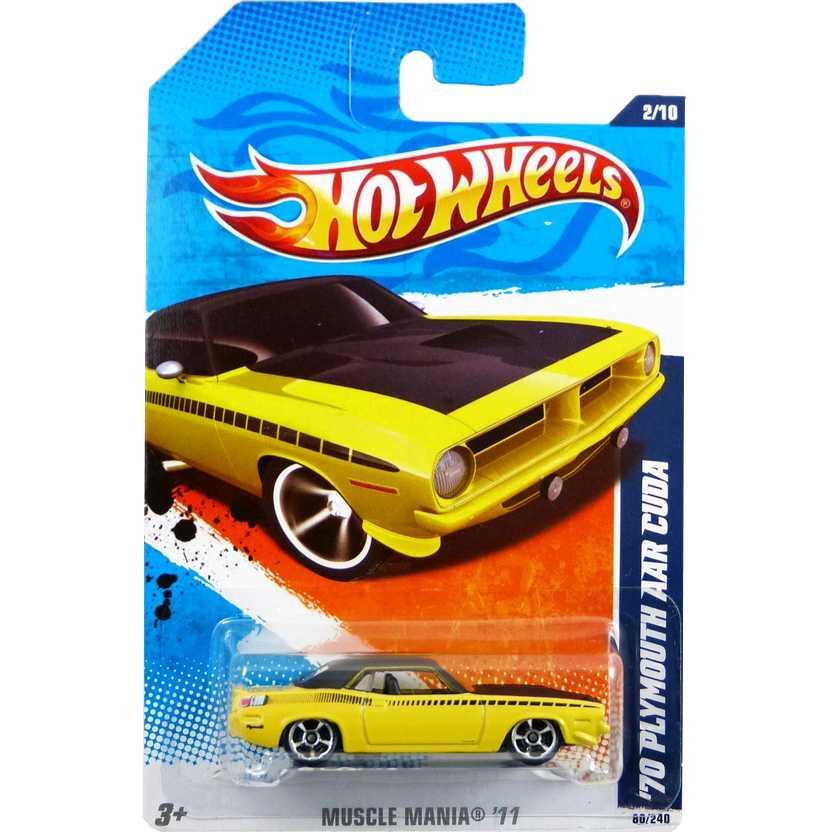 2010 Hot Wheels 70 Plymouth AAR Cuda amarelo R7505 series 2/10 88/214 escala 1/64