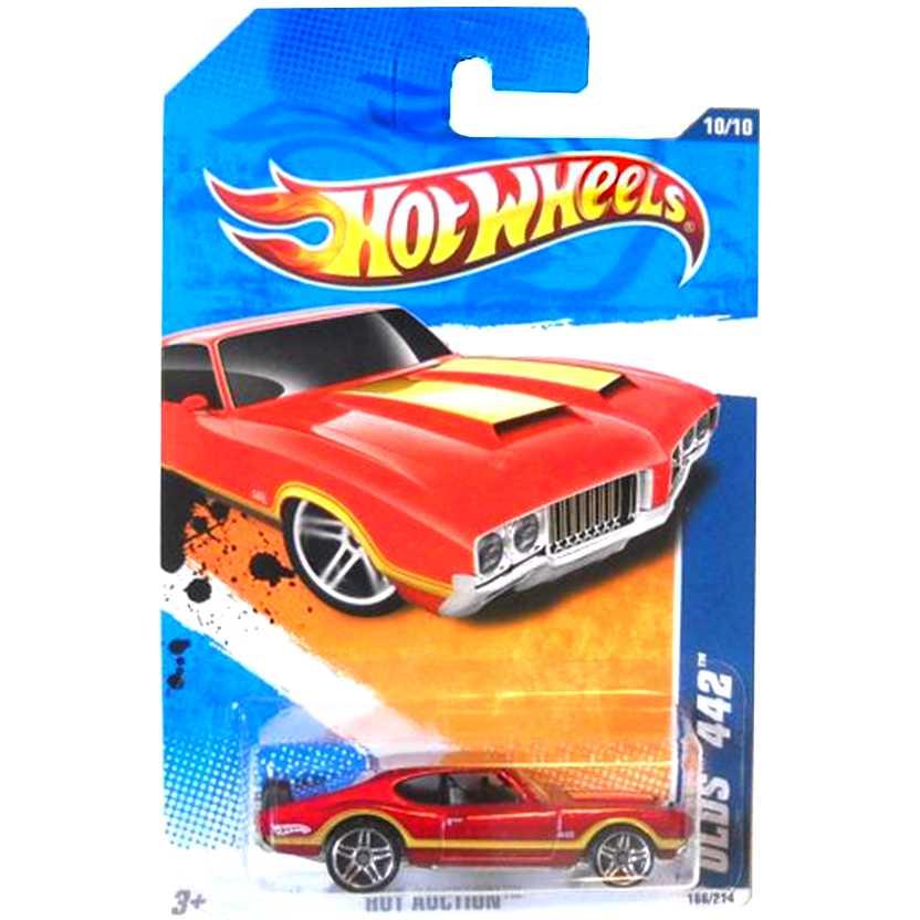 2010 Hot Wheels Olds 442 vermelho metálico R7593 series 166/214 escala 1/64