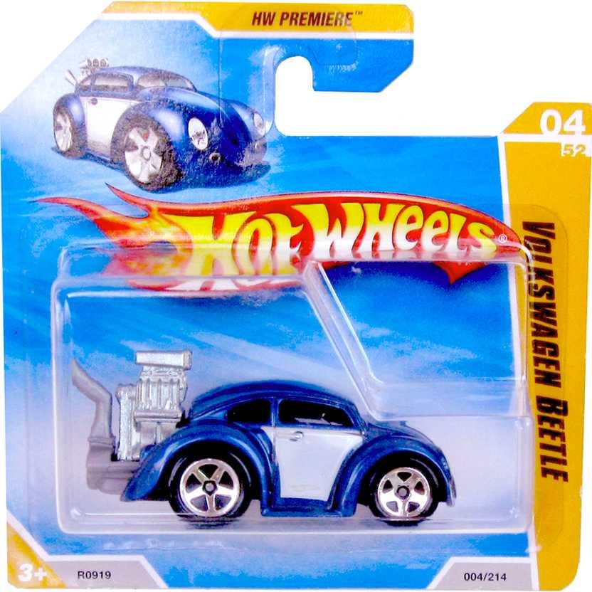 2010 Hot Wheels Volkswagen Beetle Fusca R0919 azul series 04/52 004/214
