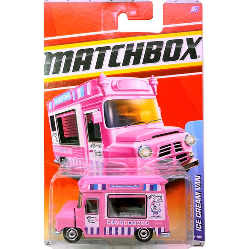 2010 Matchbox City Action Ice Cream Van cor rosa escala 1/64 63 of 100 T8935