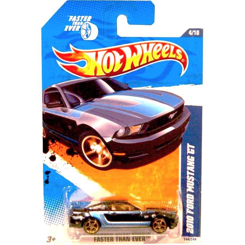 2011 Hot Wheels 2010 Ford Mustang GT preto K-Mart T9962 series 4/10 144/244 escala 1/64