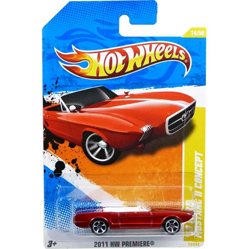 2011 Hot Wheels 63 Ford Mustang II Concept vermelho V5556 series 14/50 14/244 escala 1/64