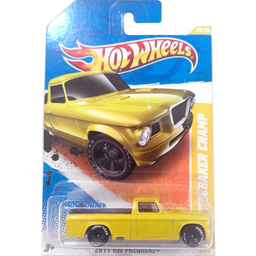 2011 Hot Wheels 63 Studebaker Champ Pickup amarela V5557 series 29/244 escala 1/64