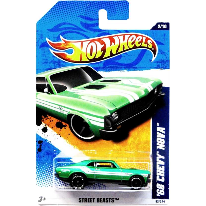 2011 Hot Wheels 68 Chevy Nova verde T9789 series 2/10 82/244 escala 1/64