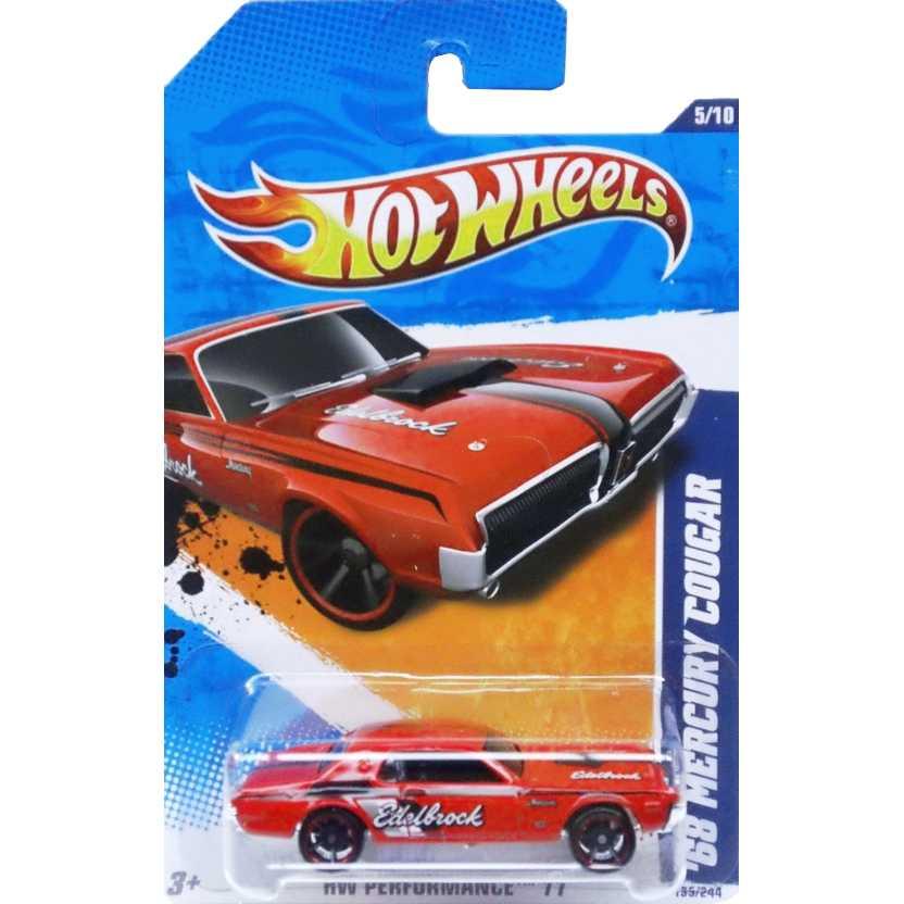 2011 Hot Wheels 68 Mercury Cougar vermelho T9842 series 5/10 135/244 escala 1/64