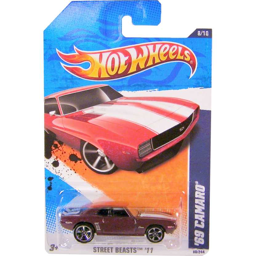 2011 Hot Wheels 69 Camaro bordo T9795 series 8/10 88/244 escala 1/64