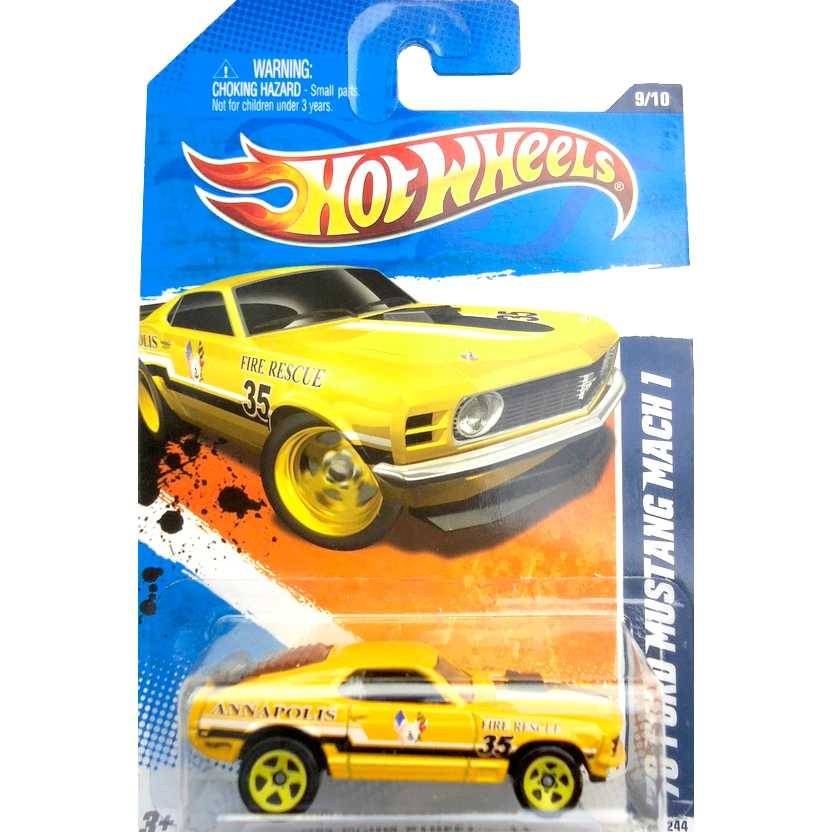 2011 Hot Wheels 70 Ford Mustang Mach 1 amarelo T9876 series 9/10 169/244 escala 1/64