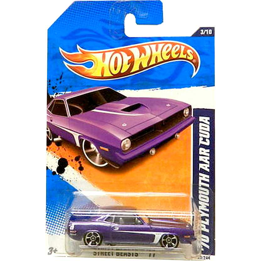 2011 Hot Wheels 70 Plymouth AAR Cuda roxo T9790 series 3/10 83/244 escala 1/64