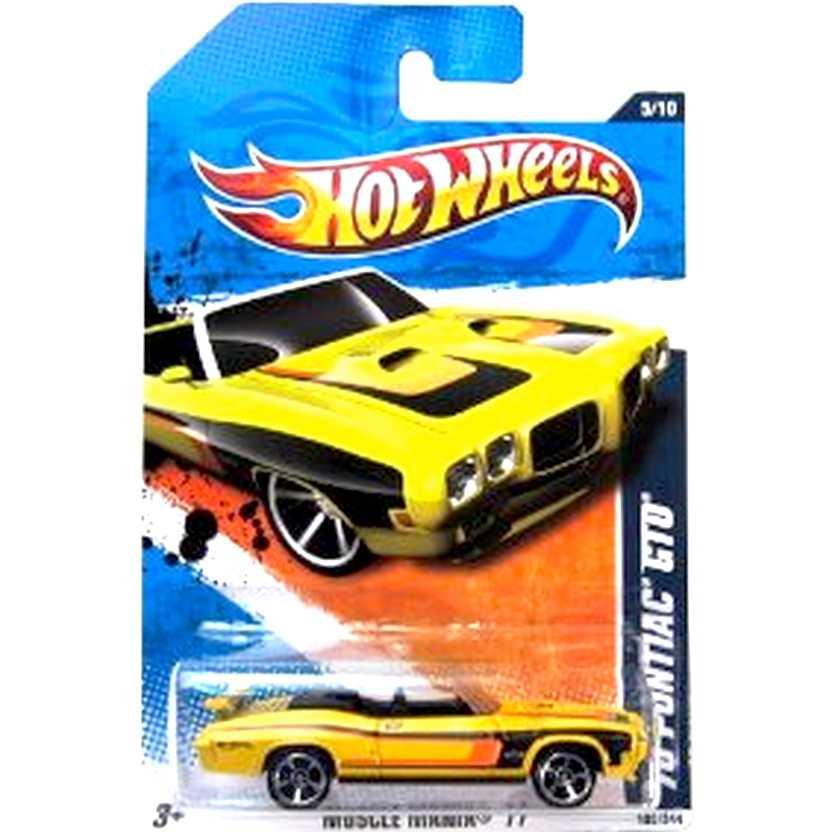 2011 Hot Wheels 70 Pontiac GTO convertible amarelo T9812 series 5/10 105/244 escala 1/64