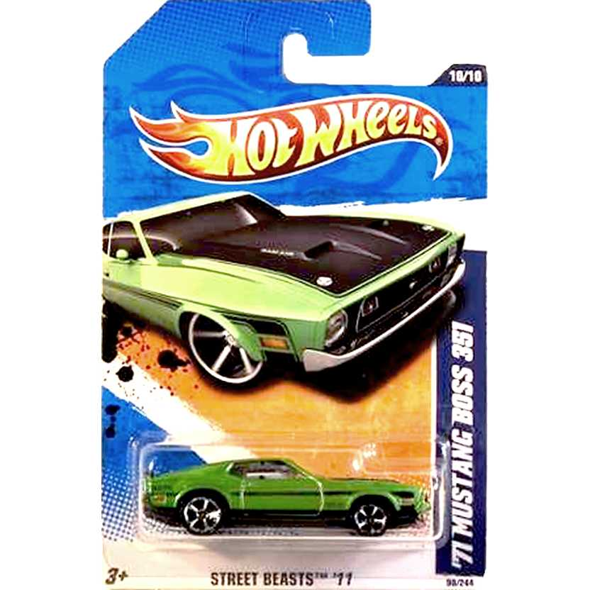 2011 Hot Wheels 71 Mustang Boss 351 T9797 series 10/10 90/244 escala 1/64