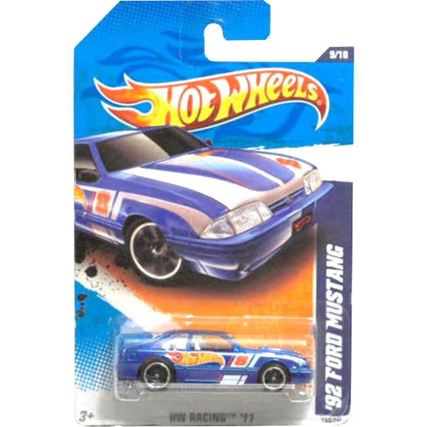 2011 Hot Wheels 92 Ford Mustang azul T9866 series 9/10 159/244 escala 1/64