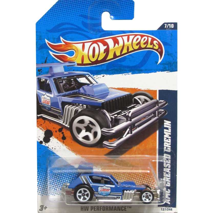 2011 Hot Wheels AMC Greased Gremlin azul T9844 series 7/10 137/244 escala 1/64