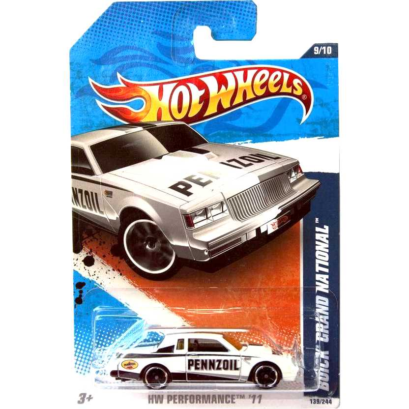2011 Hot Wheels Buick Grand National branco V0030 series 9/10 139/244 escala 1/64
