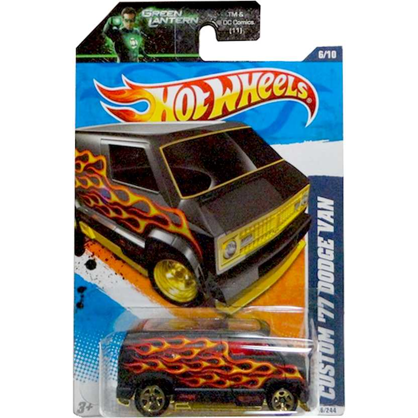 2011 Hot Wheels Custom 77 Dodge Van preto T9803 series 6/10 96/244 escala 1/64