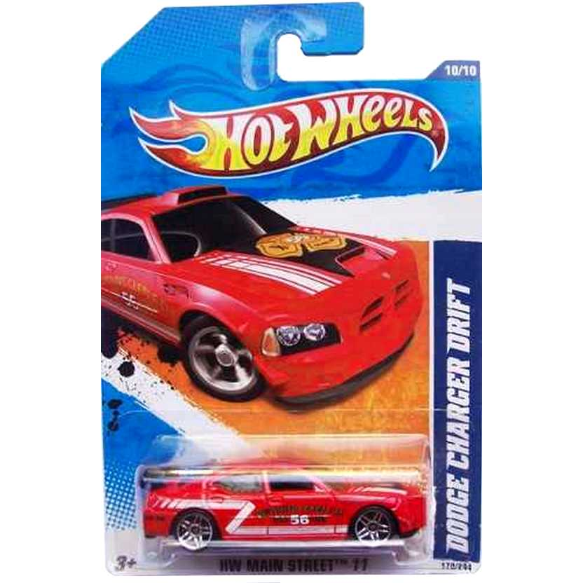 2011 Hot Wheels Dodge Charger Drift vermelho T9877 series 10/10 170/244 escala 1/64