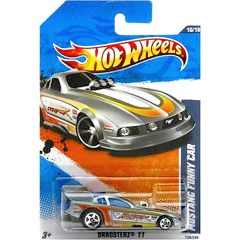 2011 Hot Wheels Mustang Funny Car prata T9976 series 10/10 130/244 escala 1/64