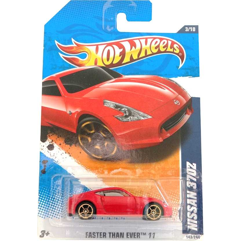 2011 Hot Wheels Nissan 370Z vermelho T9850 series 143/244 escala 1/64