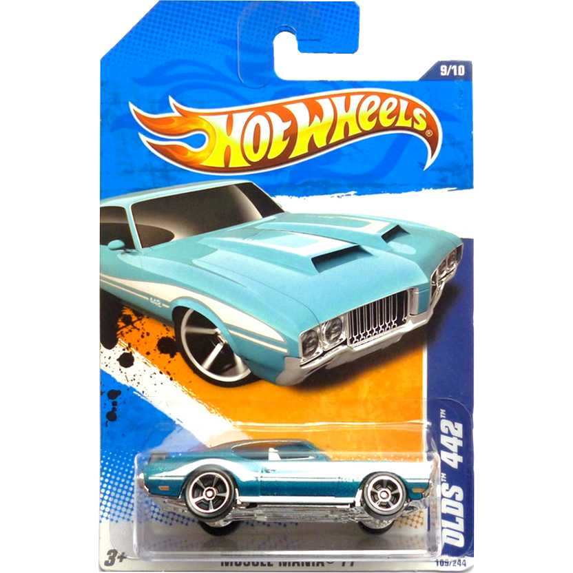 2011 Hot Wheels Olds 442 azul T9816 series 9/10 109/244 escala 1/64