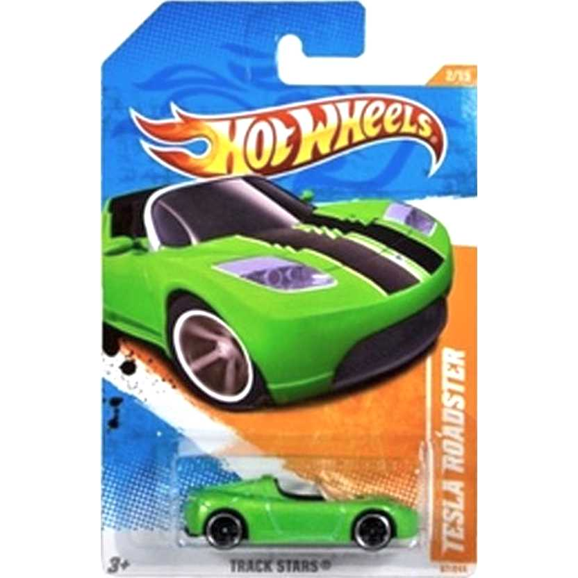 2011 Hot Wheels Raro Tesla Roadster verde T9752 series 67/244 escala 1/64
