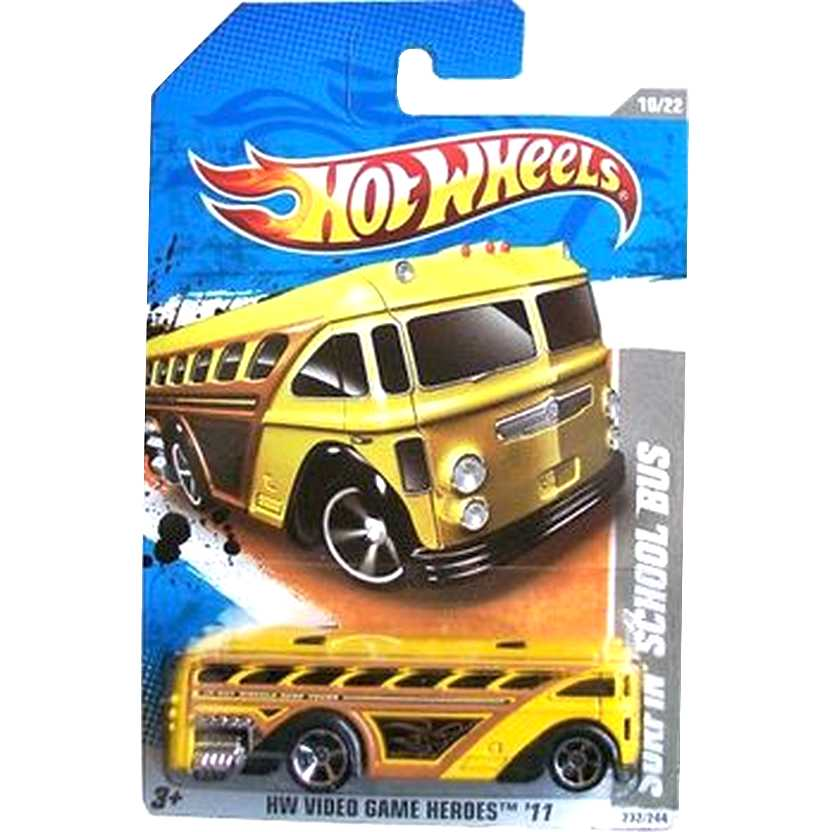 2011 Hot Wheels Surfin School Bus ônibus amarelo T9775 series 232/244 escala 1/64