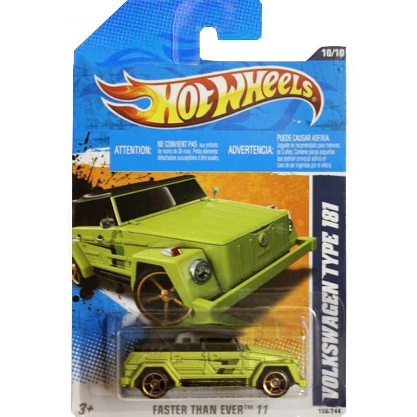2011 Hot Wheels Volkswagen Type 181 verde T9857 series 10/10 150/244 escala 1/64