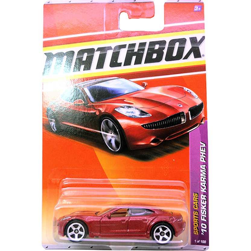 2011 Matchbox 10 Fisker Karma PHEV cor bordô metálico escala 1/64 1 of 100 T1549