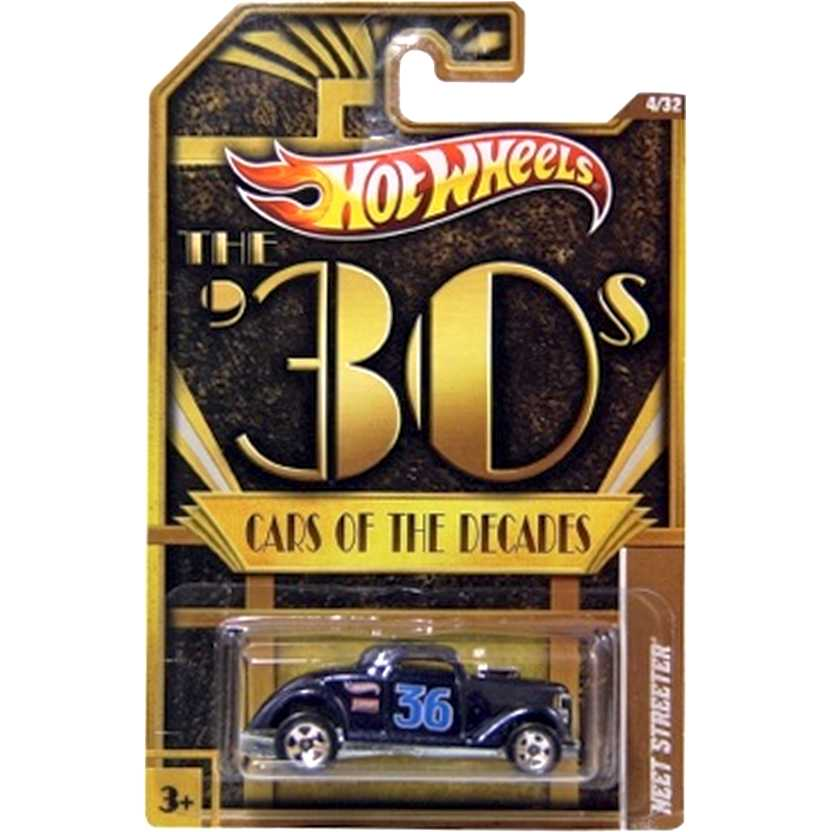 2012 Hot Wheels 30s Cars Of The Decades Neet Streeter preto W3989 series 4/32 escala 1/64