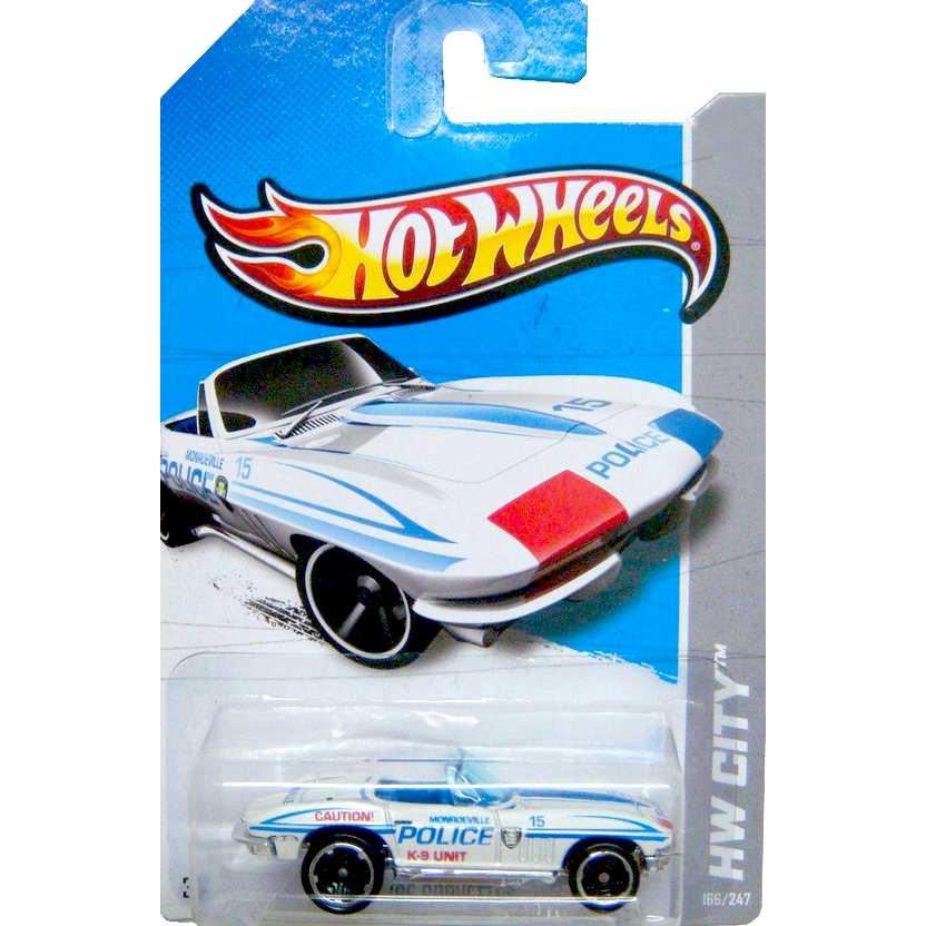 2012 Hot Wheels 65 Corvette Police V5470 series 166/247 escala 1/64