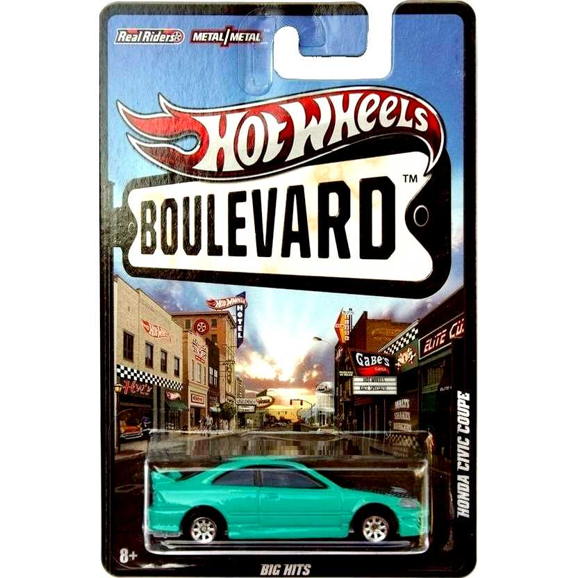 2012 Hot Wheels Boulevard Honda Civic Coupe W4611 escala 1/64 com pneus de borracha