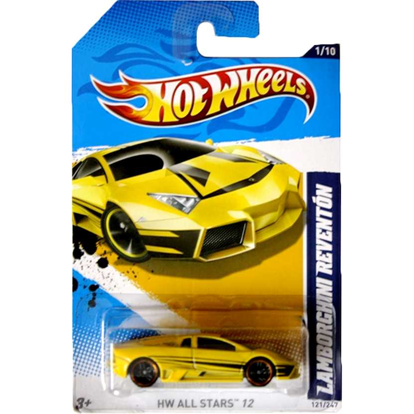 2012 Hot Wheels Lamborghini Reventón amarelo V5607 series 121/247 escala 1/64
