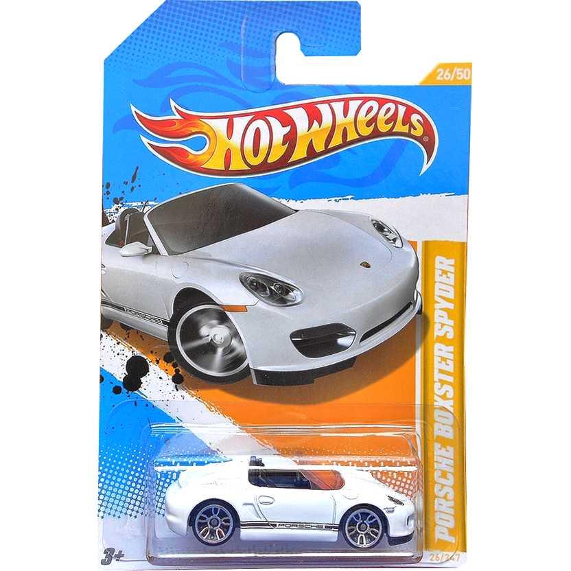 2012 Hot Wheels Porsche Boxster Spyder branco V5314 series 26/247 escala 1/64