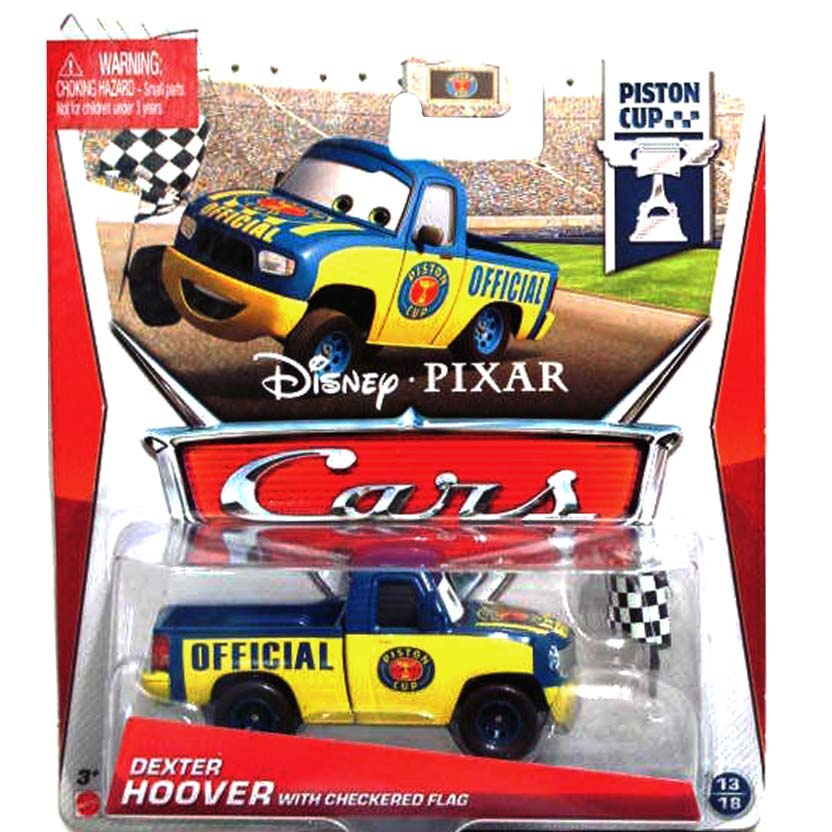 2013 Disney Pixar Cars Retro PC Piston Cup 13/18 Dexter Hoover with checkered flag
